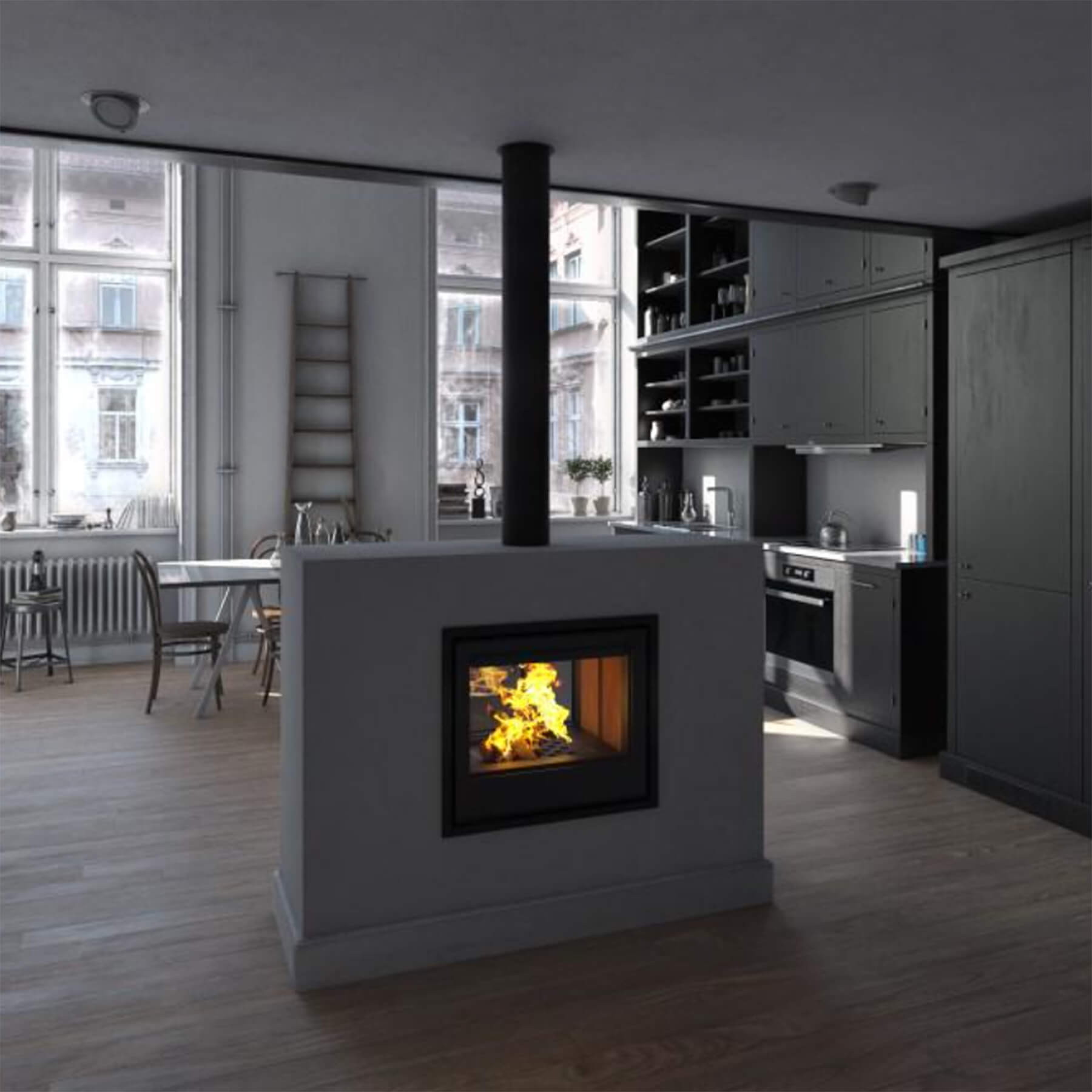Combustion-Fireplaces-Built-In-Van-Gogh-Double-Sided