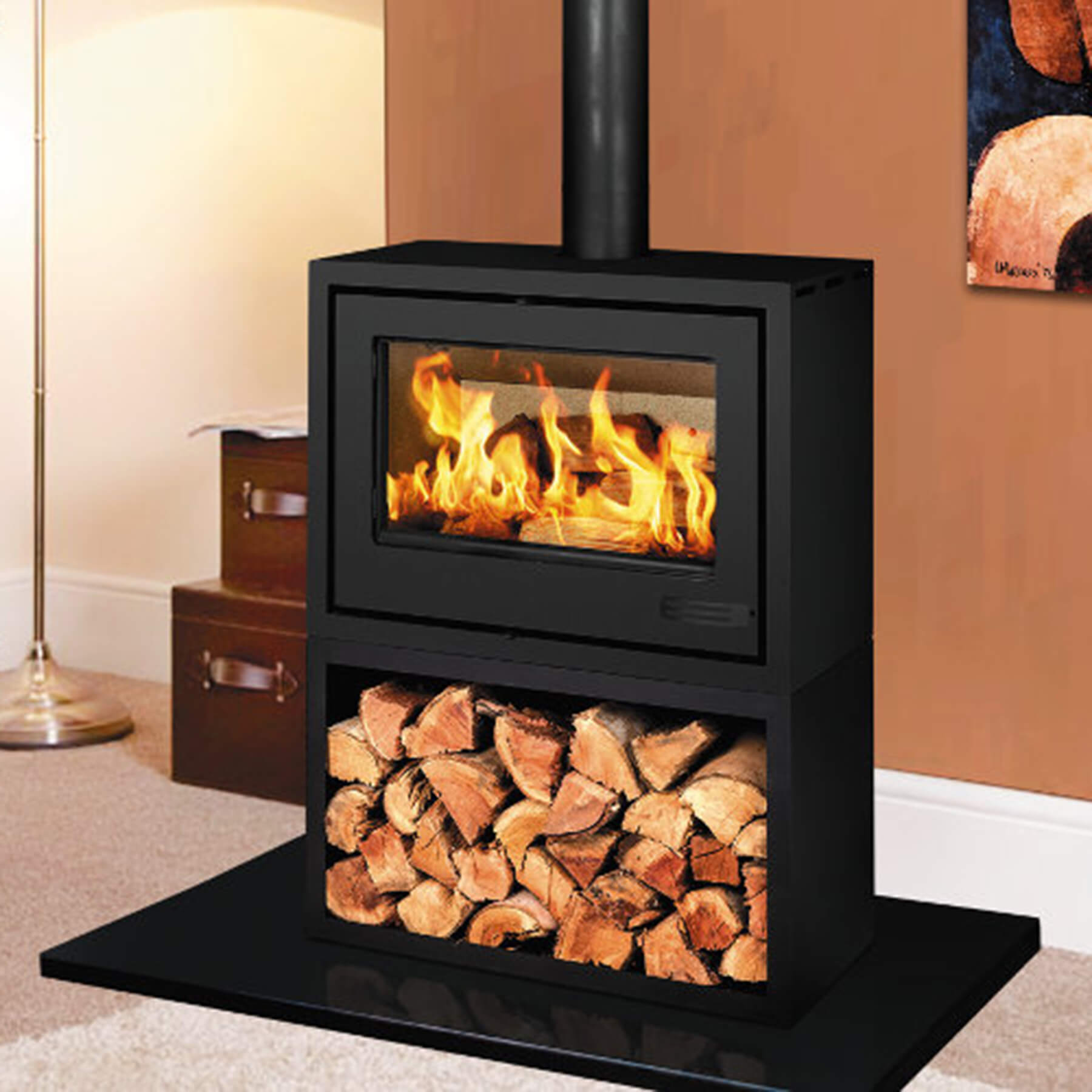 Combustion-Fireplaces-Freestanding-13kw-Convection-Unit-Wood-Storage-Box-Environment