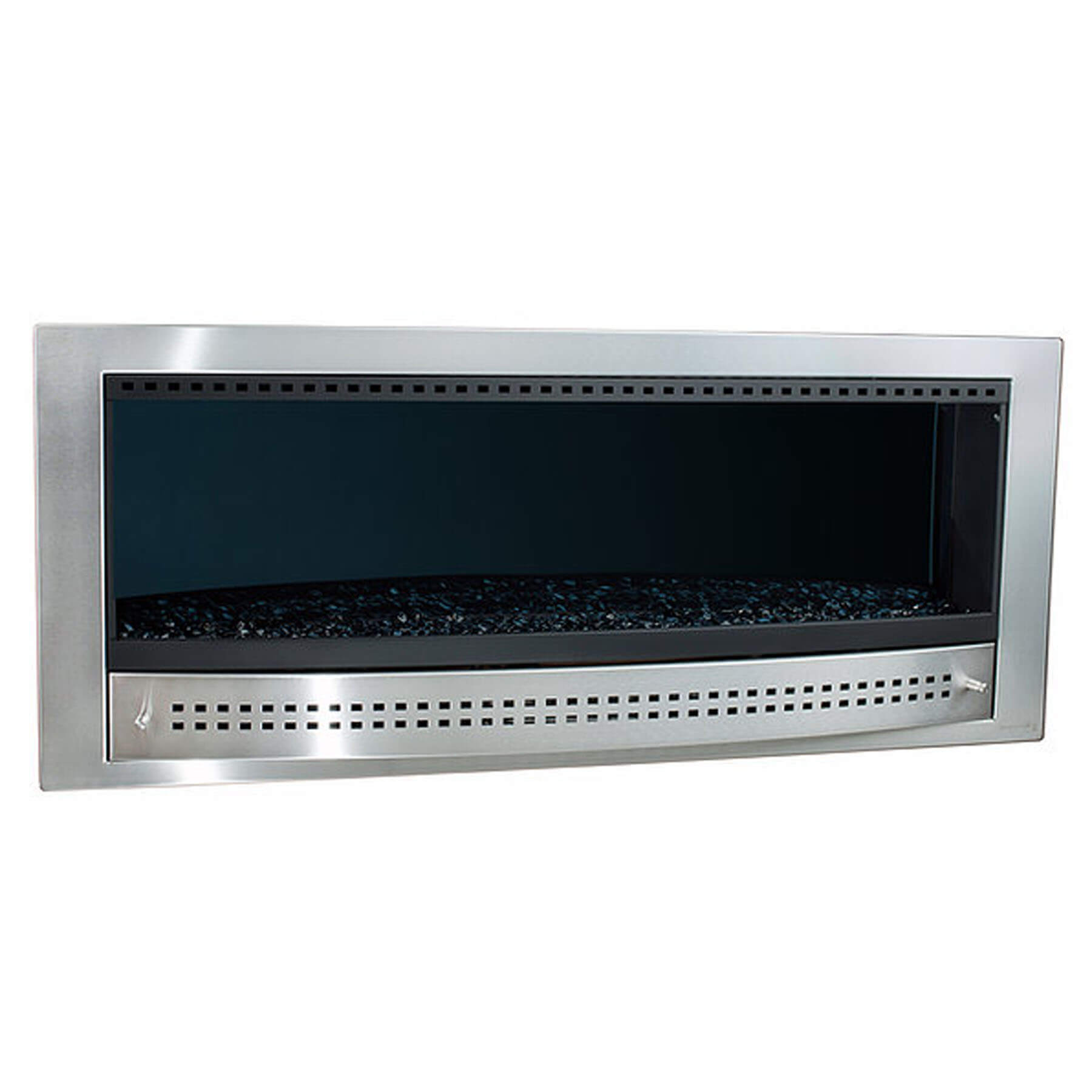 Gas-Fireplaces-Contemporary-Stainless-Steel- Midnight-Mirror-Back