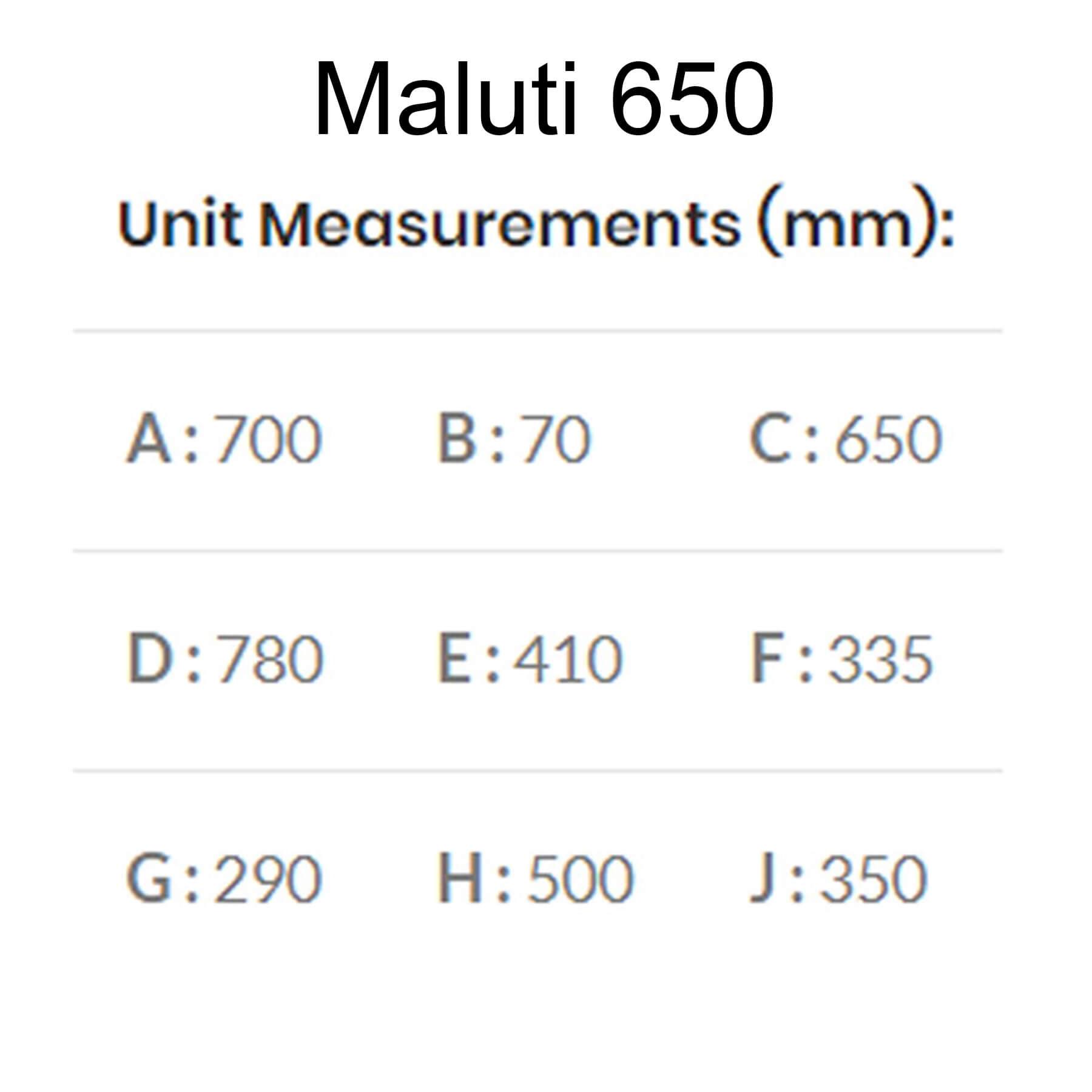 Maluti-Gas-Firebox-Freestanding-Model-650-Dimensions