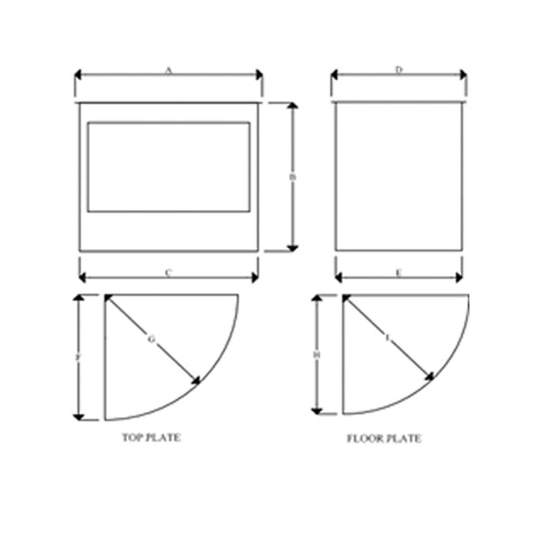 Panoramic-Gas-Firebox-Freestanding-Model-600-Dimensions