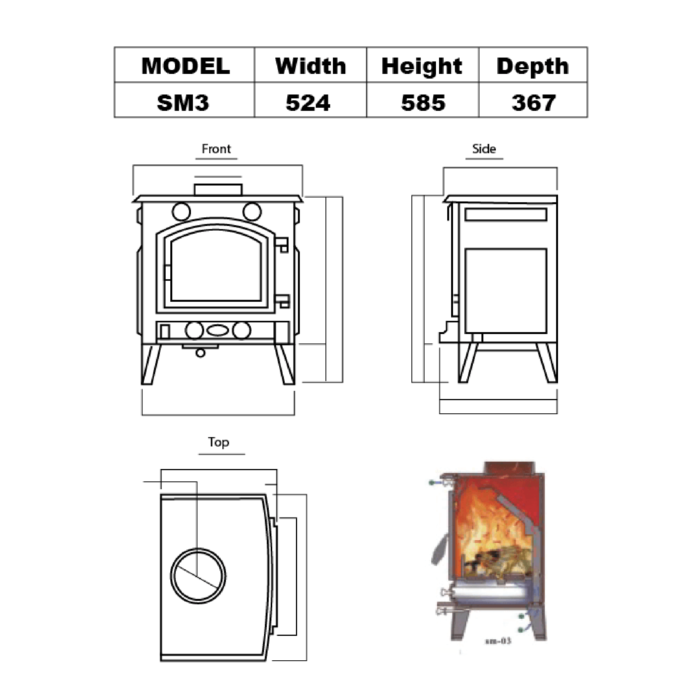 Technical-Specifications-SM3-Fireplaces