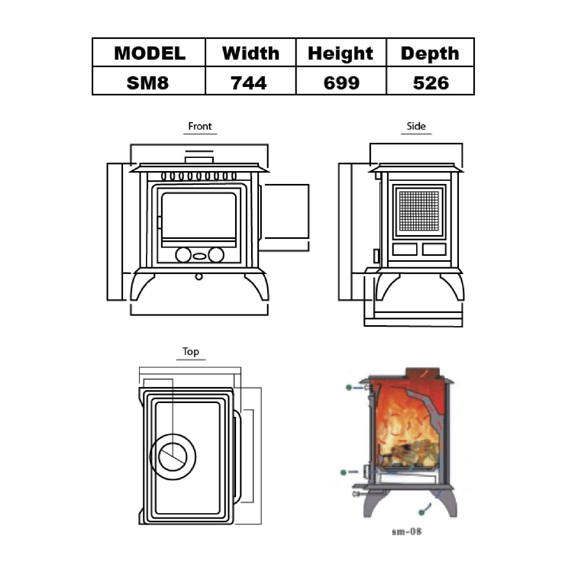 Technical-Specifications-SM8-Fireplaces